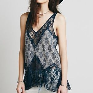 Free People Blue Lace Tank Top